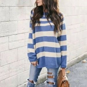 Stripped Slouchy Pullover Soft Tunic Sweater